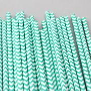 24 Aqua Turquoise Blue Chevron Striped Paper Drinking Straws - For your birthday party drink, baking or crafts