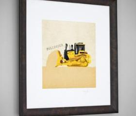 Construction Vehicle Yellow Bulldozer Transportation 8x8 Wall Art Room Decor Print