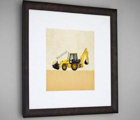 Construction Vehicle Yellow Backhoe Transportation 8x8 Wall Art Room Decor Print