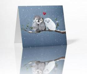 Love Owl Greeting Card Blank Inside on Linen Cardstock with Envelope included - Anniversary, Merry Christmas, Valentine's and more