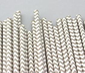 24 GreyChevron Striped Paper Drinking Straws - For your birthday party drink, baking or crafts