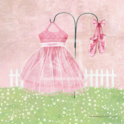 Ballerina Wall Art garden girls pretty pink ballerina ballet dress nursery wall art