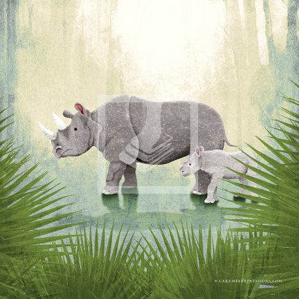 Jungle Safari Rhino Rhinoceros Family Wall Art Decor Print by Caramel Expressions