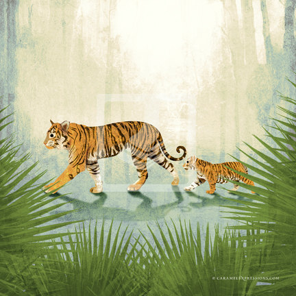 Jungle Safari Orange Tiger Family Wall Art Decor Print by Caramel Expressions