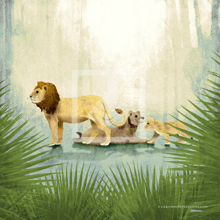 Jungle Safari Lion Family Wall Art Decor Print by Caramel Expressions