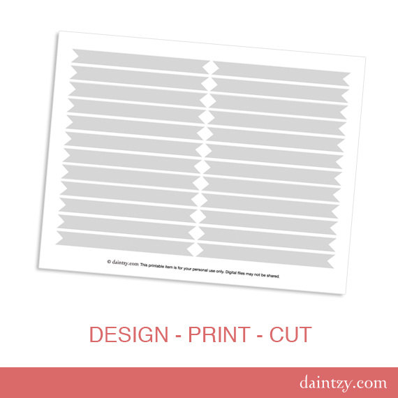 Drinking Straw Flag Printable Template - DIY Make Your Own Party Drink Flags Template by daintzy