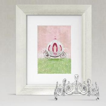 Garden Girls Cinderella Princess Carriage Nursery Wall Art Decor Print by Caramel Expressions
