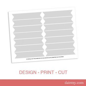 Cupcake Flag Printable Template - DIY Blank Make Your Own Party Cupcake Flag or Cake Flag Template by daintzy